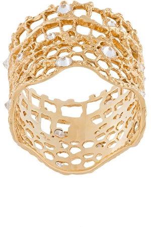 Aurélie Bidermann 18kt 'Vintage Lace' Gelbgoldring mit Diamanten - Metallisch