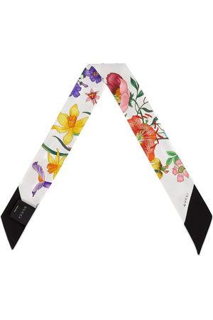 Gucci Halsschleife aus Seidentwill mit floralem Druck