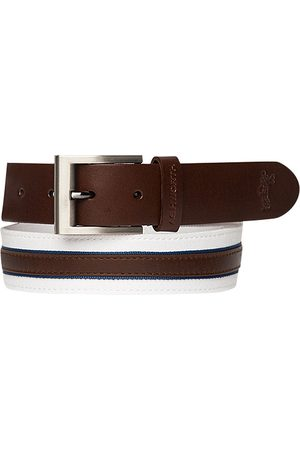 Herren Gürtel - Ashworth Leather Cotton Belt white-brown Z99400