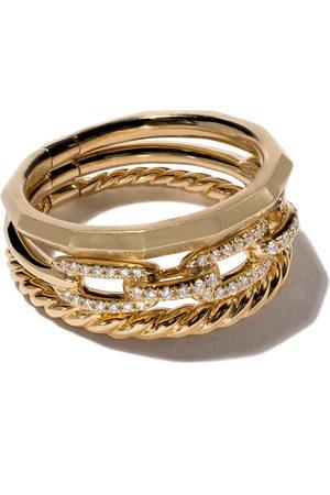 David Yurman Damen Armbänder - 18kt 'Stax' Gelbgoldring mit Diamanten - Metallisch