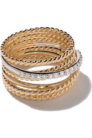 David Yurman Damen Ringe - 18kt 'Crossover' Gelbgoldring mit Diamanten - Metallisch