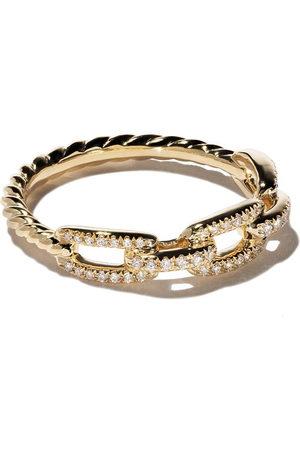 David Yurman 18kt 'Stax' Gelbgoldring mit Diamanten - Metallisch