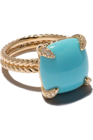 David Yurman 18kt yellow gold Châtelaine turquoise and diamond ring - Metallisch