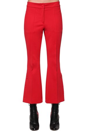 MARCO DE VINCENZO FLARED TECHNO JERSEY CROPPED PANTS