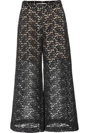 Stella McCartney Hose mit weitem Bein aus Baumwolle mit Spitze