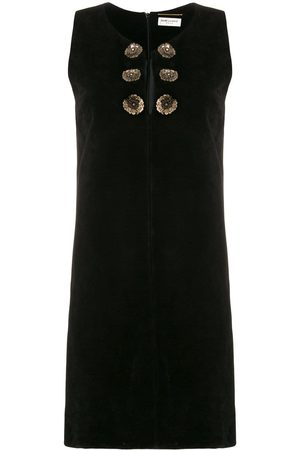 Saint Laurent Woman - SUEDE MINI DRESS W EMBROIDERY