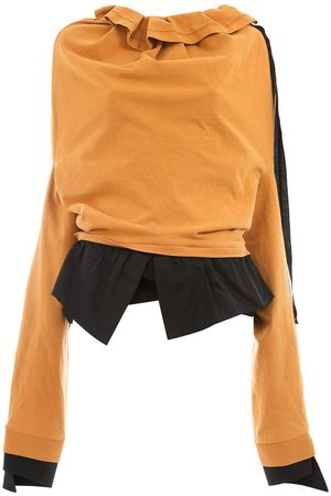 Aganovich Damen Sweatshirts - Sweatshirt mit Rüschenkragen
