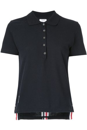 Thom Browne Relaxed Fit Short Sleeve Polo With Center Back Red, White And Blue Stripe In Classic Pique