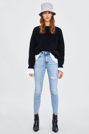 Zara HIGH-RISE-JEANS IM DISTRESSED-LOOK MIT RISSEN