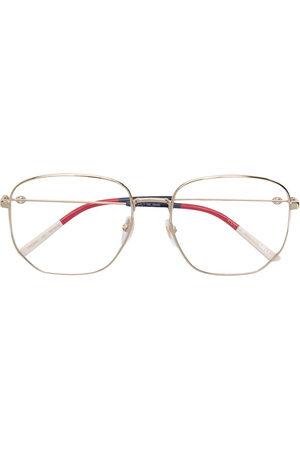 Gucci Sonnenbrille mit sechseckigen Gläsern - Metallisch