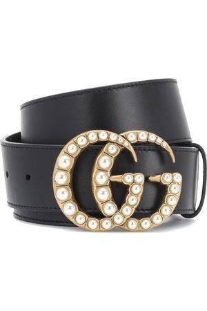 Gucci Gürtel GG aus Leder mit Zierperlen