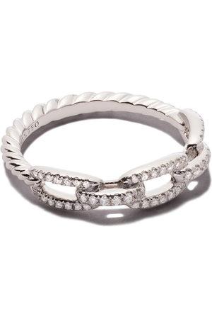 David Yurman Damen Ringe - 18kt white gold Stax single row pavé diamond chain link ring - 8Wadi