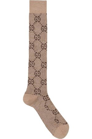 Gucci Lurex interlocking G socks - Nude