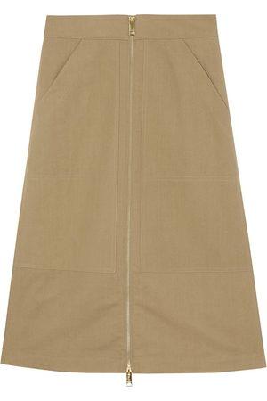 Burberry Cotton Silk High-waisted Skirt - Nude