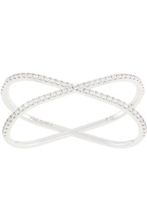 ALINKA 18kt 'Katia Duo' Zwei-Finger-Weißgoldring mit Diamanten