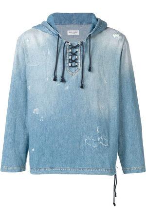 Saint Laurent Herren Sweatshirts - Destroyed denim hoodie