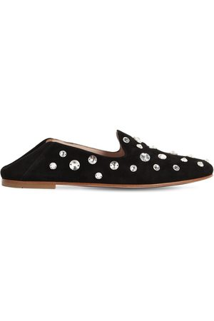 Miu Miu 10mm Embellished Suede Loafers