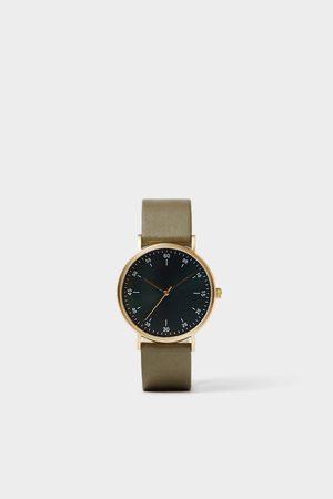 Zara Minimalistische armbanduhr mit lederarmband in grün