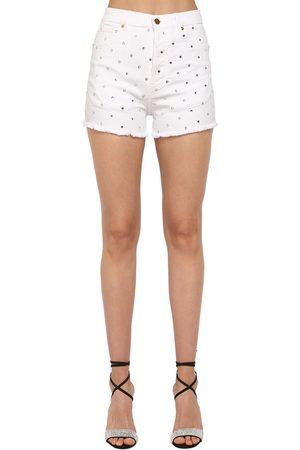 ALEXANDRE VAUTHIER Damen Shorts - Crystal Embellished Cotton Denim Shorts