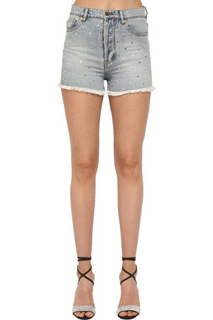 ALEXANDRE VAUTHIER Crystal Embellished Cotton Denim Shorts