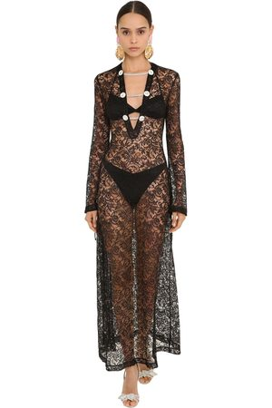 Alessandra Rich Embellished Long Lace Dress