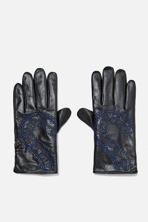 Zara Handschuhe - LEDERHANDSCHUHE MIT STICKEREI