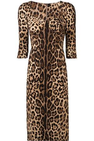Dolce & Gabbana Schmales Kleid mit Leo-Print
