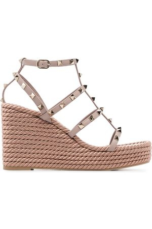 Valentino Garavani pink Rockstud 120 leather wedges