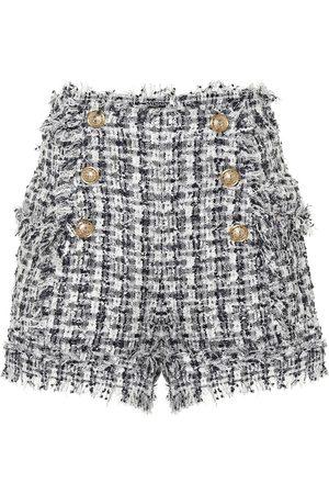Balmain Karierte Shorts aus Tweed