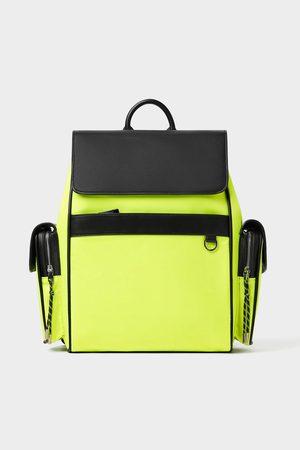 Zara Neonfarbener sportlicher rucksack