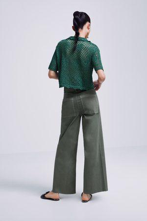Zara Beschichtete culotte-jeans zw premium marine in khakigrün