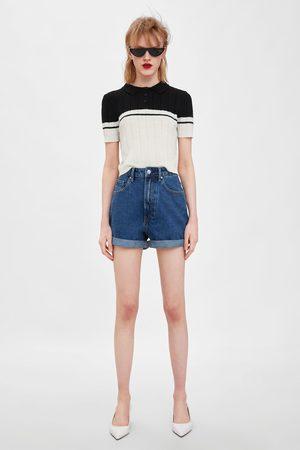 Zara Damen Shorts - Mom-fit-bermudashorts aus authentic denim