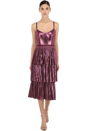 Marchesa Notte Pleated Lamé Midi Dress