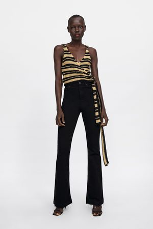 Zara High-waist-schlagjeans im skinny-fit zw premium in lead black