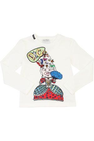Dolce & Gabbana Mädchen Shirts - T-shirt Aus Baumwolljersey Mit Druck