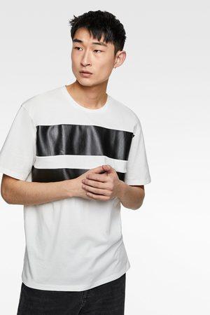 Zara T-shirt mit streifen in kunstleder