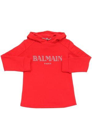 Balmain Hoodie Aus Baumwollfleece Mit Logodruck