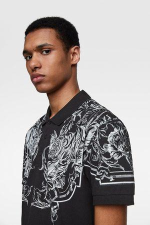 Zara Poloshirt mit texturiertem print