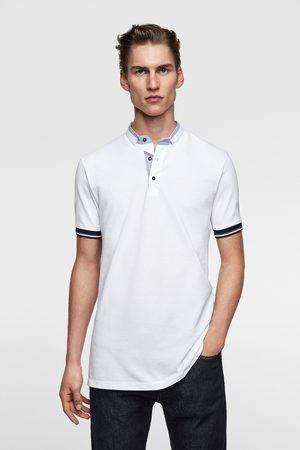 Zara Herren Poloshirts - Poloshirt mit kombiniertem kragen