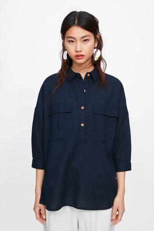 Zara Oversize-hemd mit taschen