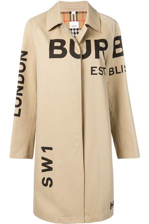 Burberry Horseferry print gabardine car coat - Nude