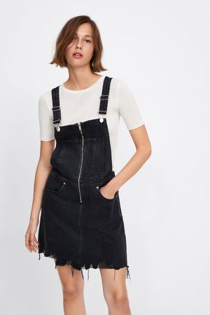 Zara Jeans-latzrock mit reissverschluss