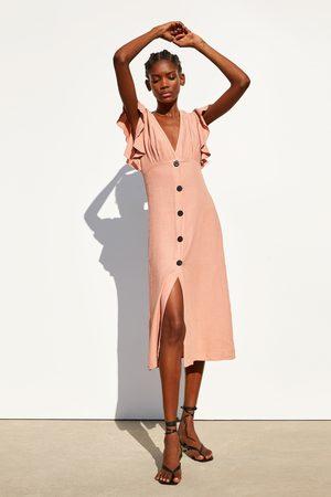 Zara Kleid aus festem stoff mit volant