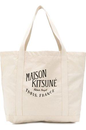 Maison Kitsuné Schultertasche mit Logo-Print - Nude