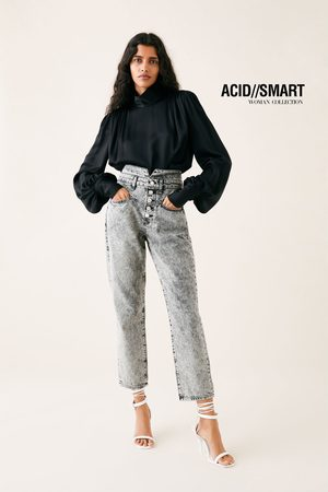 Zara Straight-jeans zw premium 80's in acid black