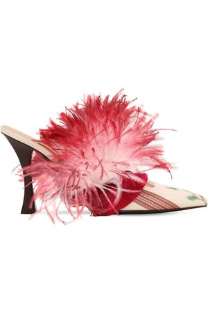 Tabitha Simmons for Brock Collection 100mm Feather & Satin Mules