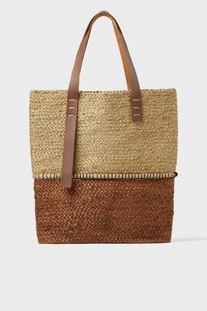 Zara Zweifarbiger shopper aus naturmaterialien