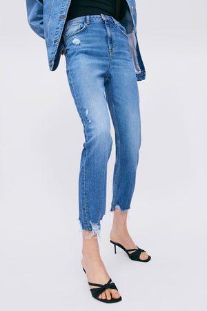 Zara Damen High Waisted - Jeans z1975 hi-rise skinny mit rissen