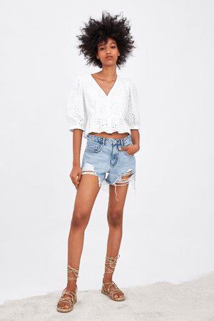 Zara Damen High Waisted - Short denim hi rise mit rissen
