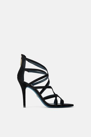 Zara Lederpantolette mit absatz blue collection